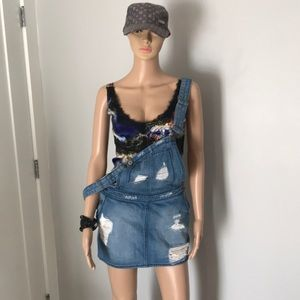 Car at S denim mini skirt overalls new !